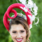 Louise Macdonald's entry in the Professional Millinery Award at Oaks Day Flemington 2016; the headpiece was worn by Emily (makeup by Maren Holm; photo by Lee Sanders)