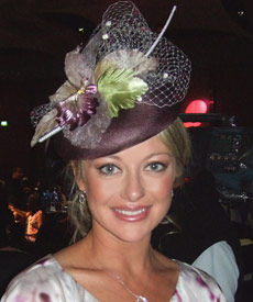Melbourne Oaks Day Luncheon 2007: TV presenter Shelley Craft wears fashion hat by milliner Louise Macdonald