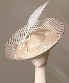 Fashion hat Monte Carlo Creme by Melbourne milliner Louise Macdonald