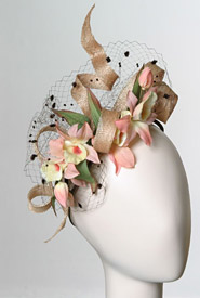 Fashion hat Peach by Melbourne milliner Louise Macdonald