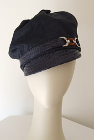 Fashion hat Bibi Cap navy moiré by Melbourne milliner Louise Macdonald