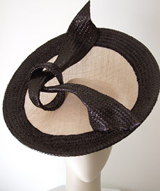 Fashion hats Miss Moneypenny (photo) and Bibi Cap, by Melbourne milliner Louise Macdonald, were purchased by the National Gallery of Victoria (NGV) in 2008