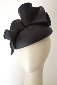 Fashion hat Purdy Beret black by Melbourne milliner Louise Macdonald