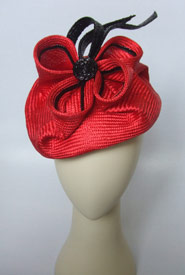 Fashion hat Red Handed by Melbourne milliner Louise Macdonald