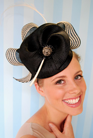 Fashion hat Black and Cream Sonata by Melbourne milliner Louise Macdonald
