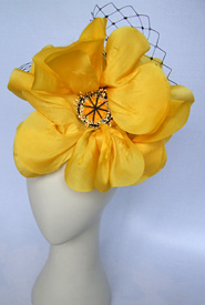 Fashion hat Yellow Can Can by Melbourne milliner Louise Macdonald