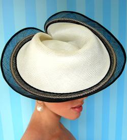 Fashion hat Cream Encore by Melbourne milliner Louise Macdonald