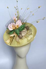 Fashion hat Lemon Polka by Melbourne milliner Louise Macdonald