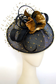 Fashion hat Black and Mustard Polka by Melbourne milliner Louise Macdonald