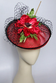 Fashion hat Red Poppy Polka by Melbourne milliner Louise Macdonald