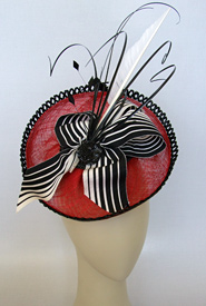 Fashion hat Red and White Polka by Melbourne milliner Louise Macdonald