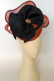 Fashion hat Rust and Navy Sonata by Melbourne milliner Louise Macdonald