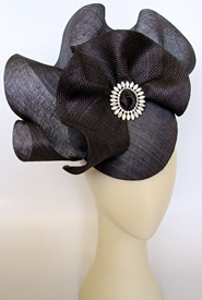 Fashion hat Slate Sonata by Melbourne milliner Louise Macdonald