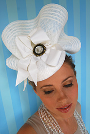 Fashion hat White Sonata by Melbourne milliner Louise Macdonald