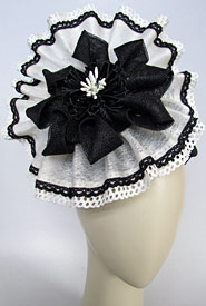 Fashion hat Black and White Athena by Melbourne milliner Louise Macdonald