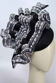 Fashion hat Black and White Calypso by Melbourne milliner Louise Macdonald