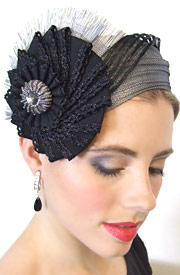 Fashion hat Chione grey by Melbourne milliner Louise Macdonald