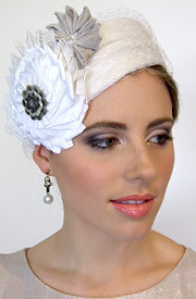 Fashion hat Chione white by Melbourne milliner Louise Macdonald