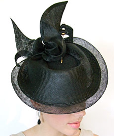 Fashion hat Black Hera by Melbourne milliner Louise Macdonald