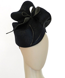 Fashion hat Black Amelie by Melbourne milliner Louise Macdonald