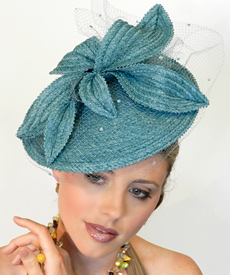 Fashion hat Bonnie Teal by Melbourne milliner Louise Macdonald
