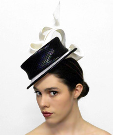 Fashion hat Black and White Boater, a design by Melbourne milliner Louise Macdonald
