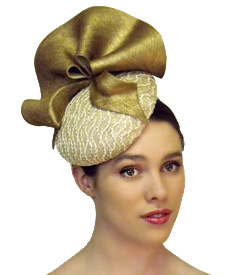 Fashion hat Cream and Gold Chelsea, a design by Melbourne milliner Louise Macdonald