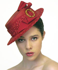 Fashion hat Coco Red, a design by Melbourne milliner Louise Macdonald