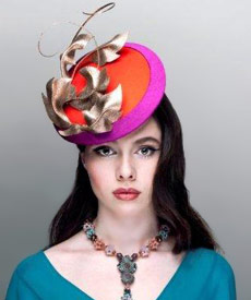 Fashion hat Coney Island Orange, a design by Melbourne milliner Louise Macdonald
