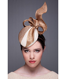 Fashion hat Two Tone Beret, Gold and Cream, a design by Melbourne milliner Louise Macdonald