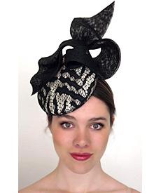 Fashion hat Zebra Mini Beret, a design by Melbourne milliner Louise Macdonald