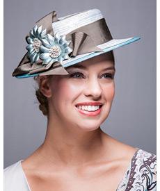 Fashion hat Blue Boater, a design by Melbourne milliner Louise Macdonald