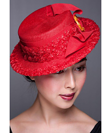 Fashion hat Red Boater, a design by Melbourne milliner Louise Macdonald
