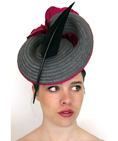 Fashion hat Grey Jacksonville, a design by Melbourne milliner Louise Macdonald