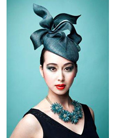 Fashion hat Teal LaFayette Beret, a design by Melbourne milliner Louise Macdonald