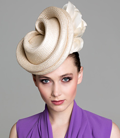 Fashion hat Cream 'Albane', a design by Melbourne milliner Louise Macdonald