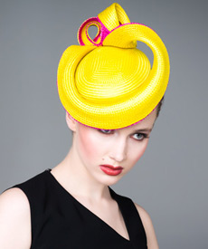 Fashion hat Yellow Buntal Beret, a design by Melbourne milliner Louise Macdonald