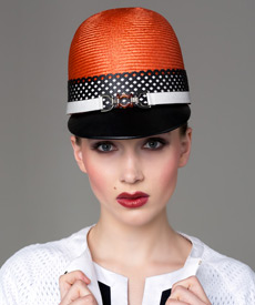 Fashion hat Orange, Black and White Cap, a design by Melbourne milliner Louise Macdonald