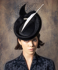 Fashion hat Black 'Elodie' Headpiece, a design by Melbourne milliner Louise Macdonald