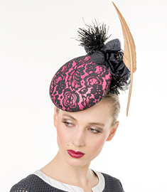 Fashion hat Pink and Navy Lace and Leather, a design by Melbourne milliner Louise Macdonald