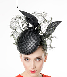 Fashion hat Black 'Stella' Headpiece, a design by Melbourne milliner Louise Macdonald