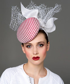 Fashion hat Red and White 'Stella' Headpiece, a design by Melbourne milliner Louise Macdonald