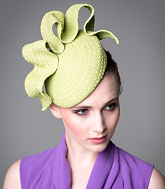 Fashion hat Green Tunica Beret, a design by Melbourne milliner Louise Macdonald