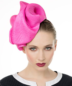 Fashion hat Shocking Pink Buntal Turban, a design by Melbourne milliner Louise Macdonald