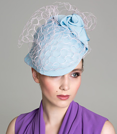 Fashion hat Blue and Pink Soft Visor, a design by Melbourne milliner Louise Macdonald