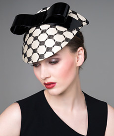 Fashion hat Cream Silk Visor with Patent Bow, a design by Melbourne milliner Louise Macdonald
