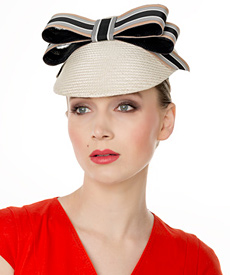 Fashion hat Cream Straw Visor with Striped Bow, a design by Melbourne milliner Louise Macdonald
