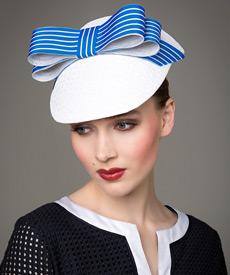 Fashion hat White and Cobalt Visor, a design by Melbourne milliner Louise Macdonald