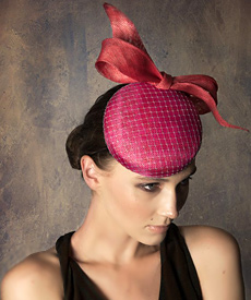 Fashion hat Pink and Watermelon Button Beret, a design by Melbourne milliner Louise Macdonald