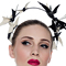 Fashion hat Ecru and Black Patent Artemis Leather Halo, a design by Melbourne milliner Louise Macdonald